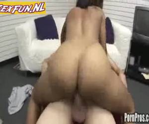 Good-looking black bitch takes a big dick in her mouth